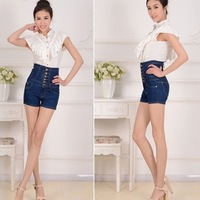 2013 women high grade single breasted short jeans female high waist denim shorts pants  plus size 3XL 4XL