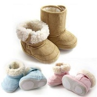 Baby and toddler snow boots  cotton-padded shoes soft outsole velvet leather three color