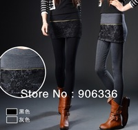 free shipping 2014 new arrival patchworlk lace women cotton leggings skirts slim skinny trouseres for women factory price