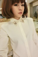 2013 autumn gem chiffon shirt slim rhinestone collar diamond basic white chiffon shirt female