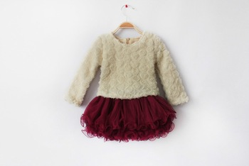 2013 New Arrival High Quality Baby Girl Sweet Rose Tutu Dress,  Kids Long Sleeve Clothes,  5 pieces/lot, Free shipping