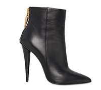 2013 New high heel ankle zip boots motorcycle  winter women pointed toe shoes 12cm heels black