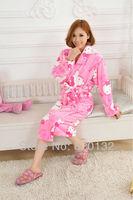 Promotion ! 2013 Women Coral Fleece Autumn Winter Robe Bathrobes Hello Kitty Pattern Sleepsuit Pajamas Adult Sleepwear Bath Robe