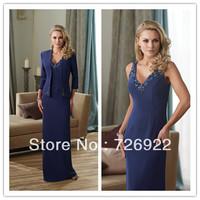 Dark Blue V-Neck Beaded Coat Bolero Jacket Chiffon Mother of the Bride Dresses Formal Evening Dress