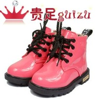 2012 female child boots genuine leather child martin boots children shoes children boots thermal boots cotton-padded shoes