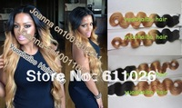 Selling best colored two tone 100% virgin peruvian hair 3pc/lot Ombre  #1B T#27 body wave peruvian hair weaving mix length