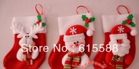 Christmas Fabric Socking Santa Sock Christmas Decorations Christmas Gifts Snowman and Reindeer Pattern 12pcs/lot Free Shipping