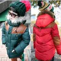 2013 winter long-sleeve with a hood children cotton-padded jacket thickening edition male child clip cotton-padded coat
