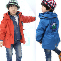 Bear nampula 2013 children's clothing child candy color 100% cotton trench male child solid color windproof