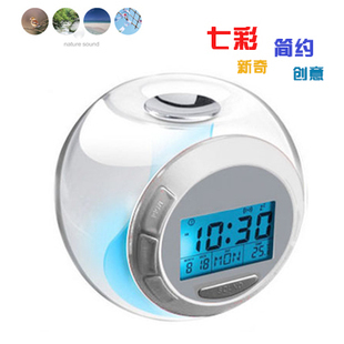 Free Shipping New Creative 7 Color Changing Light Alarm Clock Temperature Clock With Natural Sound