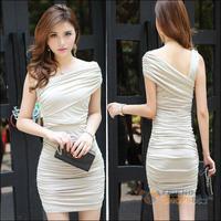 #F9s Seductive Sleeveless Close-fitting Banquet Party Mini Dress Cracker khaki