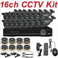 Free shipping new design sony 700TVL outdoor security camera 16ch cctv kit system full D1 HD DVR network digital video recorder