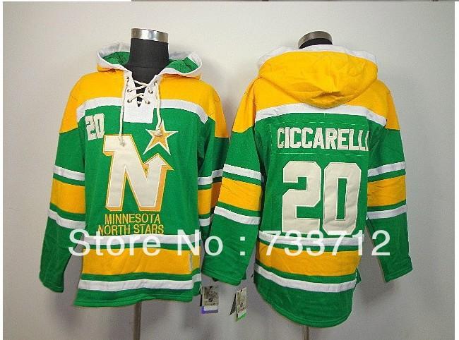 Free Shipping Cheap Dallas Stars Jerseys #20 Dino Ciccarelli Old Time Hockey Hoodies Sweatshirts Size M--2XL(China (Mainland))