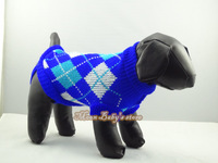 Free Shipping Dog Sweater Chihuahua Blue Plaid XS S M L XL Knitted Jacket Jumper Puppy Coat