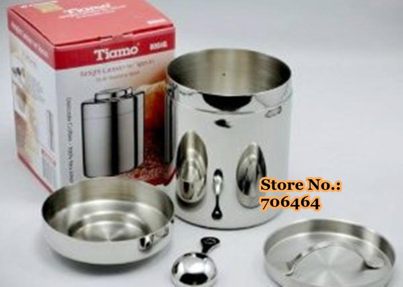 Frete grátis 18-8 aço inoxidável ferramentas de grão de café 130g / pote selo de chá / café da vasilha / tanque(China (Mainland))