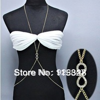 Body Chain Jewelry Fashion,3pcs/lot OEM Gold Necklace Belly Belt 2 IN ONE Fashion Body Jewelry Love Chain Sexy Club Wear 003