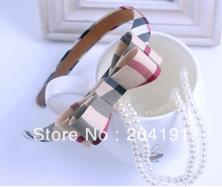 Free shipping British style plaid bow bowknot flower hairbands for girls hair accessories headband Order Value Need Over USD10(China (Mainland))