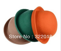 10pcs Mix Colors Women Wool Cloche Caps Ladies Winter Stingy Brim Bowler Womens Wool Fedora Felt Dome Hat Lady Fall Derby Cap