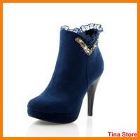 New women sexy high heel boots lace rhinestone thin heel shoes party grace ladies  dimond  heels ankle boots spring big size