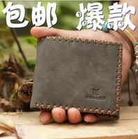 2013 bag men's knitted male short design denim horizontal vintage genuine leather wallet men bags for men