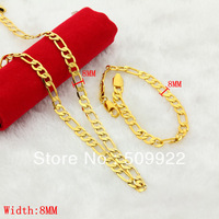 BJ002 2013 Hot slae Gold Men Jewelry Sets Online 24K Gold Filled Plated Link Chain Mens Jewelry Sets 8mm Low Price