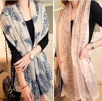 W001 Hot! Fashion New Latest Korean Female Blue and White Chiffon Scarf for Women