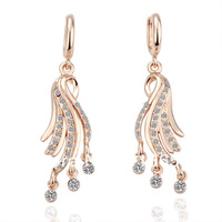 Freeshioping ( Min.Order Is $10 ) 2013 Fashion18K gold plate earring hot sale Crystal exquisite earrings for women E037
