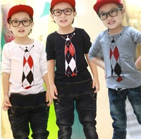 2014 autumn new arrival wholesale Fashion cute 2 colors boy tie printing top tee children tie long sleeveT shirt