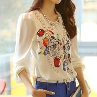 New 2014 Free shipping new women Chiffon Blouse shirt large size Print Leisure render Korean style long sleeve Spring summer