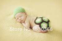 Free shipping The cute new style tortoise baby hat and shawl handmade crochet photography props newborn baby cap and shawl