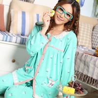 Bird spring and autumn set sleepwear female 100% cotton long-sleeve 100% cotton sleepwear autumn Women cardigan lounge