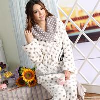 Bird 2014 winter thickening flannel sleepwear women's dot strap long-sleeve at home service set