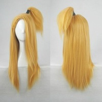 Cosplay Wig - Anime Naruto Shippuden Cosplay Deidara Hair 60cm+20cm Ponytail Golden Blonde Party Full Wig+Free Wig Cap
