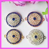 40pcs/lot 4colors Crystal rhinestone pave sideway Round evil eye connector, evil eye charm for bracelet