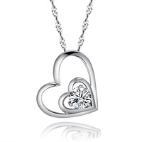 Fashion jewelry chains necklace 925 silver necklace silver pendant heart pendant