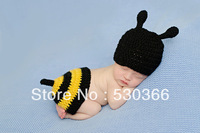 Free shipping The cute new style colourful bee baby hat and shawl handmade crochet photography props newborn baby cap and shawl