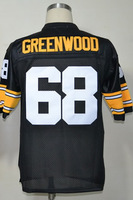 #68 L.C. Greenwood Men's Authentic 1975 Team Black Throwback Football Jersey