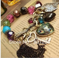 Popular  bohemia vintage multi-colored leaves crystal bracelet key coin bracelet female for women and girl B158