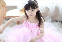 hot sales children girls pink stripe tutu dress kids party dress baby dance dress