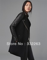Free shipping 2013 HOT SALE Women's Winter Long Sleeve Patchwork Wool & Blends Zip Long Woman Basic Jackets, Women's Coat
