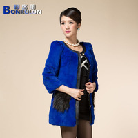 2013 winter raccoon fur slim medium-long female rabbit fur leather clothing rabbit hair fur coat