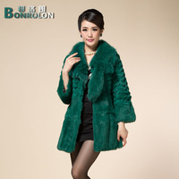 2013 winter fox fur medium-long female rabbit fur leather clothing rabbit hair fur coat