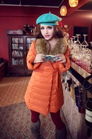Hairs models women winter long down jacket large raccoon fur collar coat thicker waistband Slim