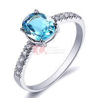 LQ Fine Gem 1.4ct Natural Topaz Stone Rings for women Sterling Silver 925 with Platinum overlay set AAA Quality Zircon crystal