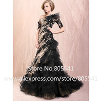 New Arrival Vintage Fashion Mermaid One-shoulder Black Lace Applique Ruffles Champagne Party Prom Dress PRM092601