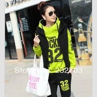 Free Shipping 2013 winter casual set neon green plus velvet thickening sweatshirt set plus size clothing outerwear