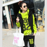 Free Shipping 2013 winter casual set neon green plus velvet thickening sweatshirt set plus size clothing outerwear
