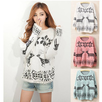 Free shippingFactory outlets 2013 new winter Christmas deer snowflake pattern round neck pullover loose mohair sweater s-2