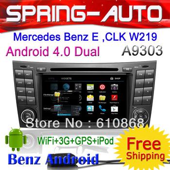FREESHIPPING Android 4.0 2 Din Car Radio PC For Mercedes Benz E Class W211,CLK W219 Autoradio DVD GPS 1GCPU 512M+4G 3G Wifi