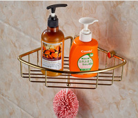Free Shipping Wholesale And Retail  Golden Finish Wall Mounted Bathroom Shower Caddy Shelf Storage Holder With Hook